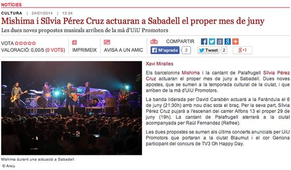 Ràdio Sabadell: Mishima i Sílvia Pérez Cruz actuaran a SBD al juny