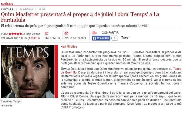 """Ràdio Sabadell: Quim Masferrer presenta l'obra """"Temps"""" al juliol"""