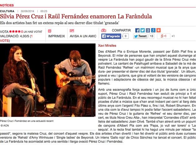 Ràdio Sabadell: Sílvia Pérez Cruz i Raül Fernandez enamoren