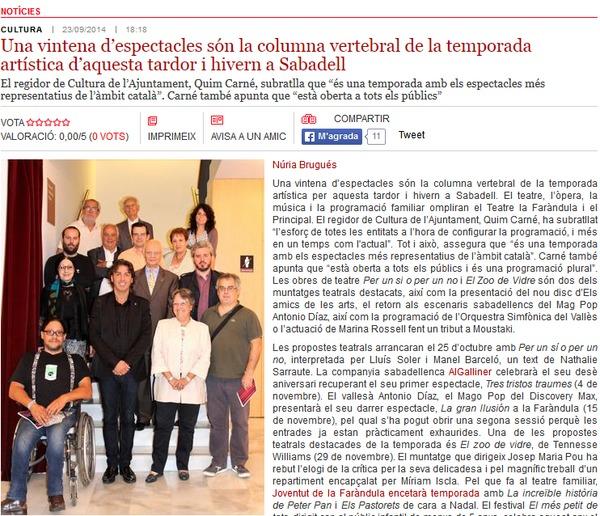 Ràdio Sabadell: Una vintena d'espectacles per la tardor i hivern