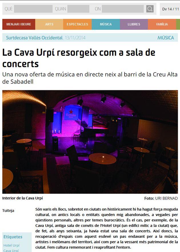 Surtdecasa: La Cava Urpí resorgeix com a sala de concerts