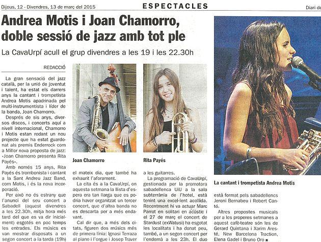 Andrea Motis i Joan Chamorro, doble sessió de jazz amb tot ple