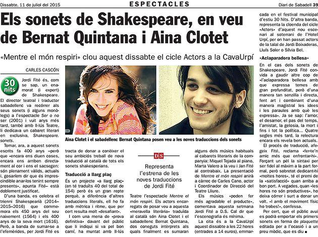 Diari de Sabadell: Els sonets de Shakespeare amb Quintana i Clotet