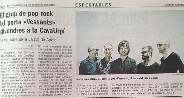 """Diari de Sabadell: ix! porta """"Vessants"""" divendres a la CAVAURPÍ"""