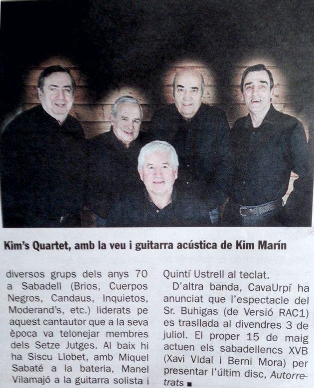 Diari de Sabadell: Kim's Quartet a CAVAURPÍ