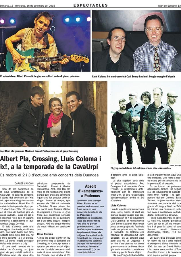 Diari de Sabadell: Nova temporada de CAVAURPÍ
