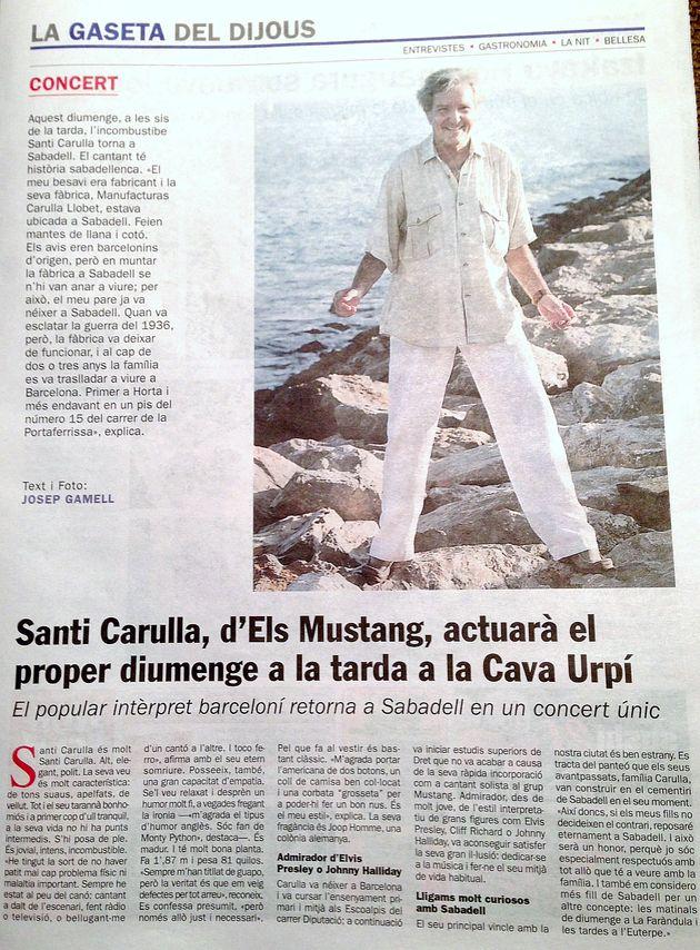 Diari de Sabadell: Santi Carulla a la CAVAURPÍ el proper diumenge