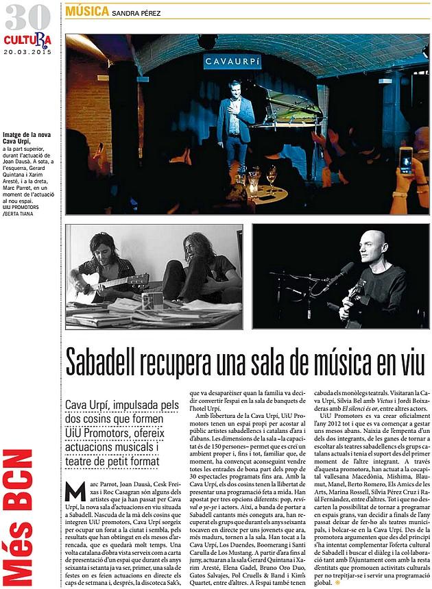 El Punt Avui: Sabadell recupera una sala de música en viu