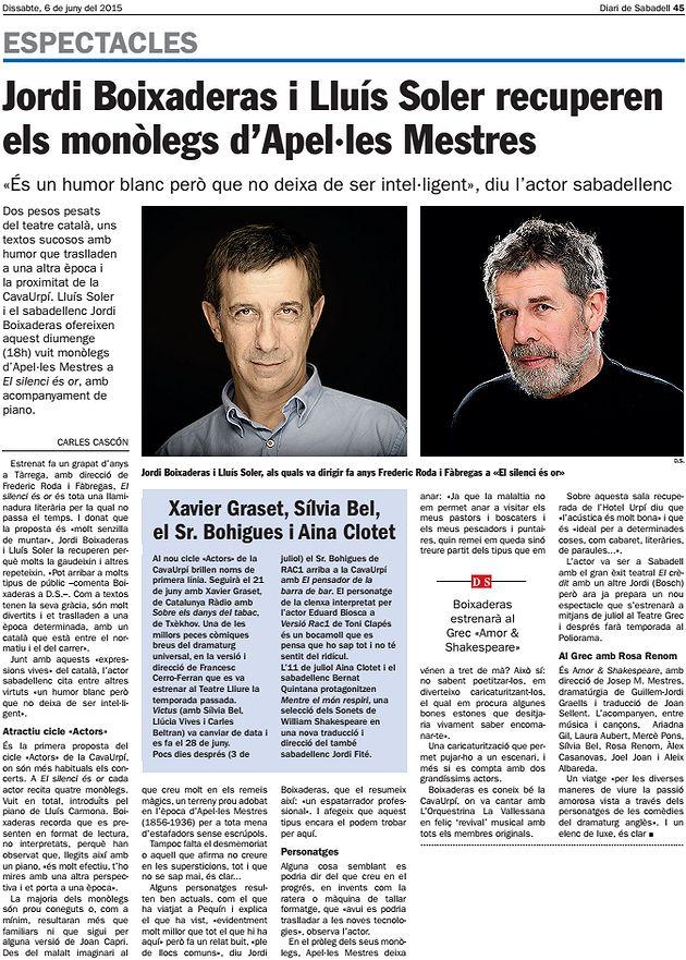 DS: J. Boixaderas i Lluís Soler recuperen monòlegs d'Apel·les Mestres