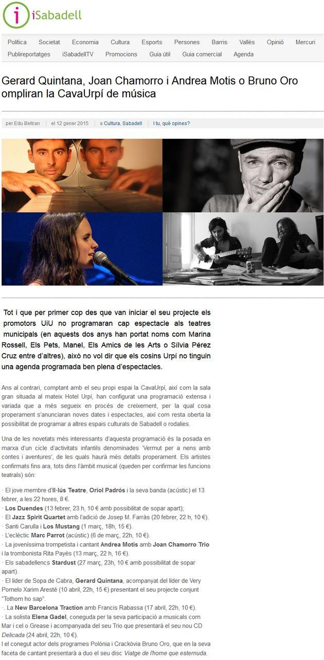 iSabadell: Gerard Quintana, Bruno Oro, … ompliran la CavaUrpí