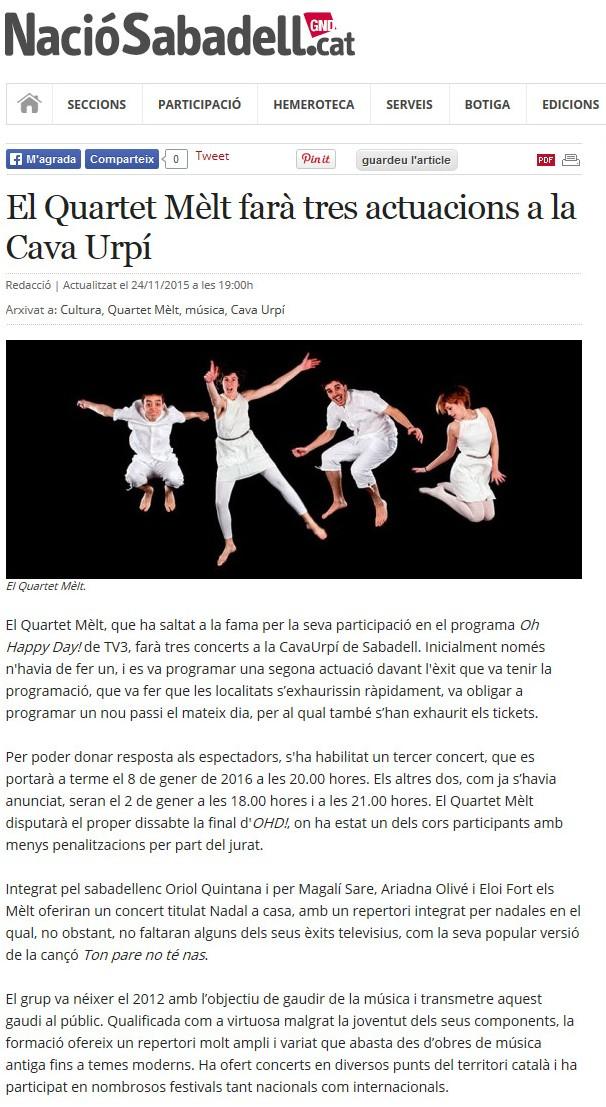 Nació Digital: El Quartet Mèlt farà tres actuacions a la CAVAURPÍ