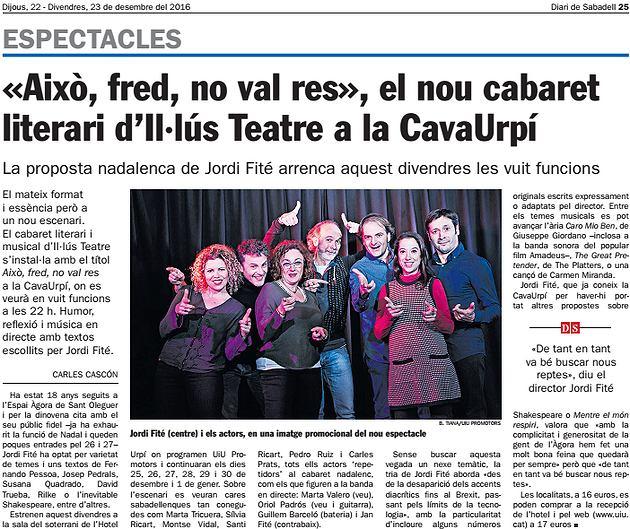 """Diari de Sabadell: """"Això, fred, no val res"""", el nou cabaret  literari d'Il·lús Teatre a la CavaUrpí"""