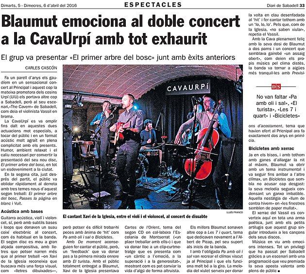 Diari de Sabadell: Blaumut emociona al doble concert a la CAVAURPÍ amb tot exhaurit