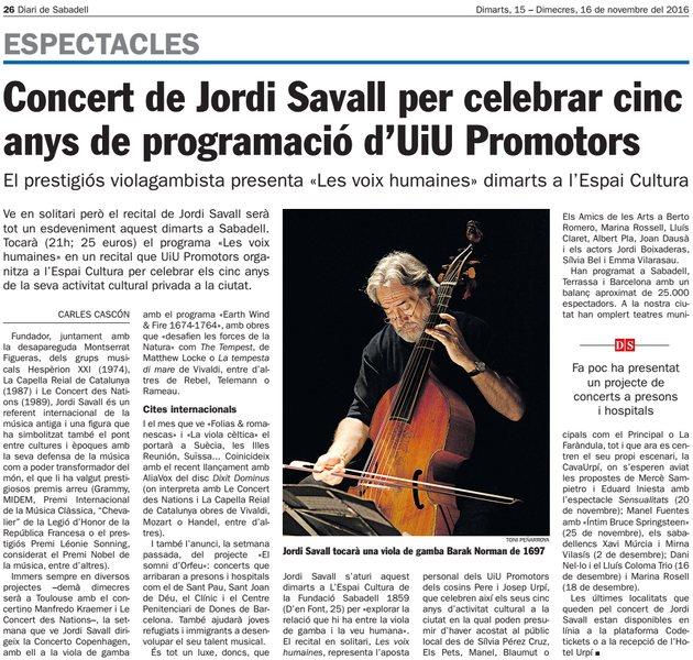 Diari de Sabadell: Concert de Jordi Savall per celebrar cinc anys d'UiU