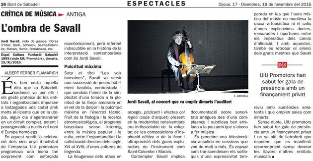 "Diari de Sabadell: Crítica de música ""L'ombra de Savall"""