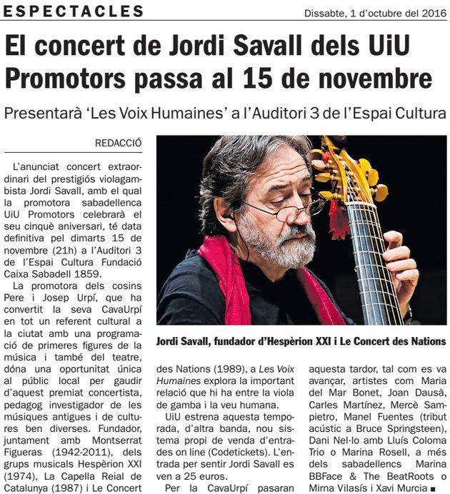 Diari de Sabadell: El concert de Jordi Savall passa al 15 de novembre