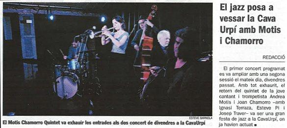 Diari de Sabadell: El jazz posa a vessar la CAVAURPÍ amb Motis i Chamorro