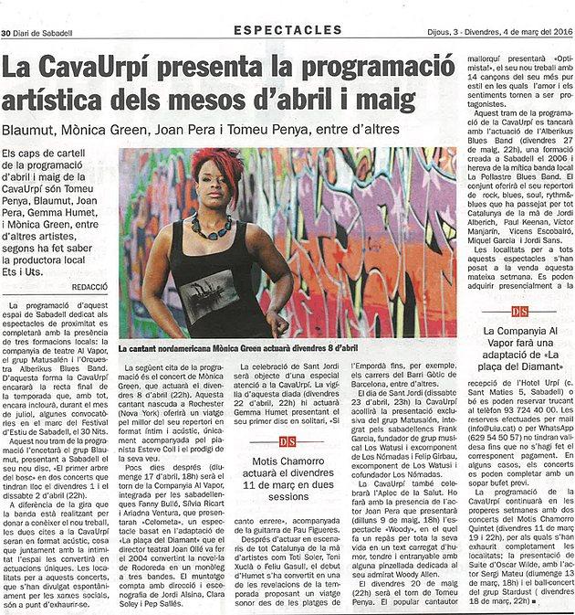 Diari de Sabadell: La CAVAURPÍ presenta la programació d'abril i maig