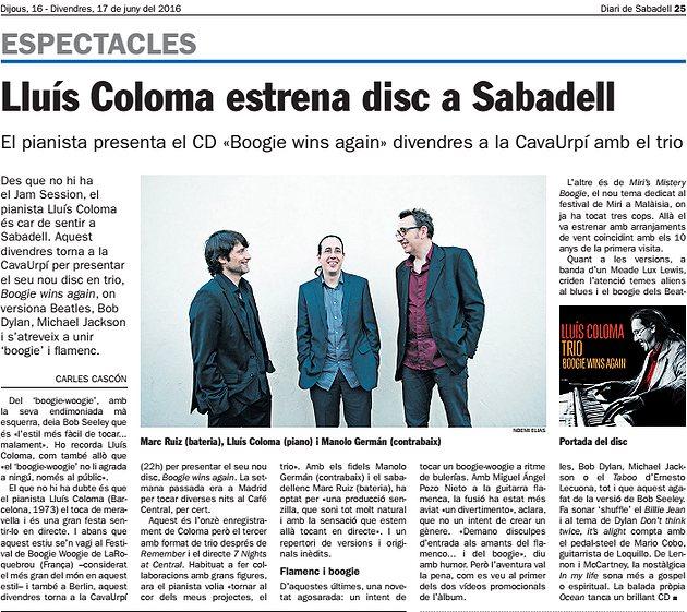 Diari de Sabadell: Lluís Coloma estrena disc a Sabadell