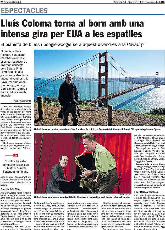 Diari de Sabadell: Lluís Coloma torna al born amb una intensa gira per EUA