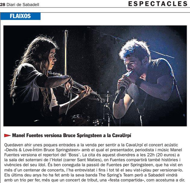Diari de Sabadell: Manel Fuentes versiona Bruce Springsteen a la CavaUrpí