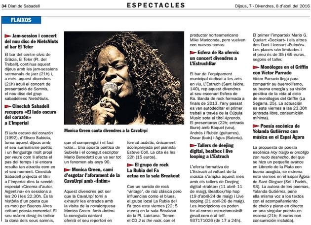 Diari de Sabadell: Monica Green camí d'esgotar l'aforament de CAVAURPÍ