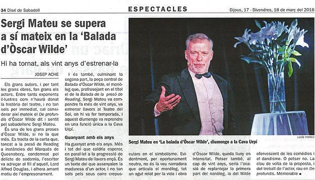 """Diari de Sabadell: Sergi Mateu se supera a sí mateix en """"La balada d'Òscar Wilde"""""""