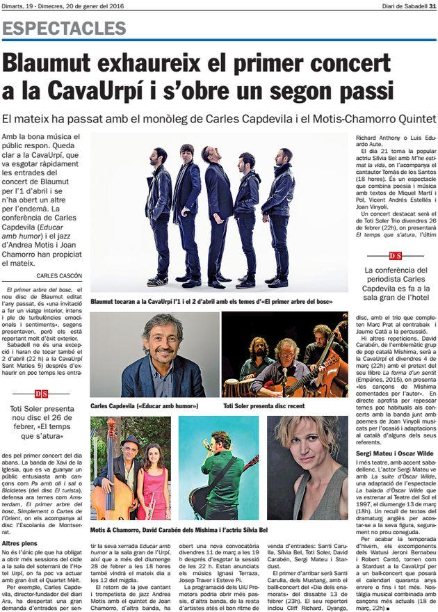 Diari Sabadell: Blaumut exhaureix el primer concert a CAVAURPÍ
