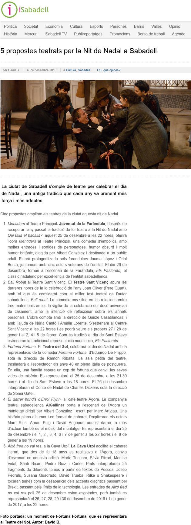 iSabadell: 5 propostes teatrals per la Nit de Nadal a Sabadell