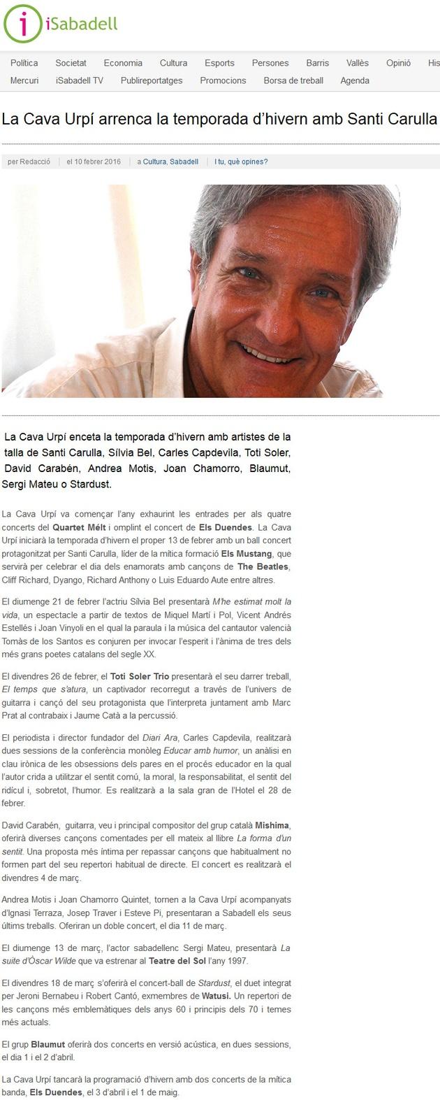 iSabadell: CAVAURPÍ arrenca la temporada d'hivern amb Santi Carulla