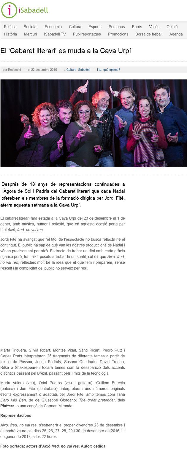 iSabadell: El 'Cabaret literari' es muda a la Cava Urpí