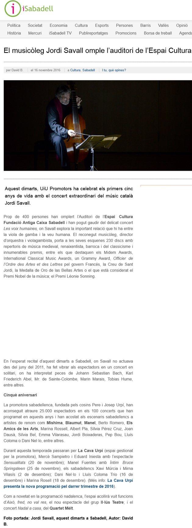 iSabadell: El musicòleg Jordi Savall omple l'auditori de l'Espai Cultura