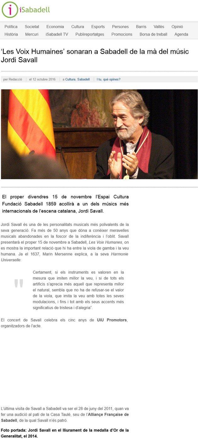 iSabadell: 'Les Voix Humaines' sonaran a Sabadell de la mà del músic Jordi Savall