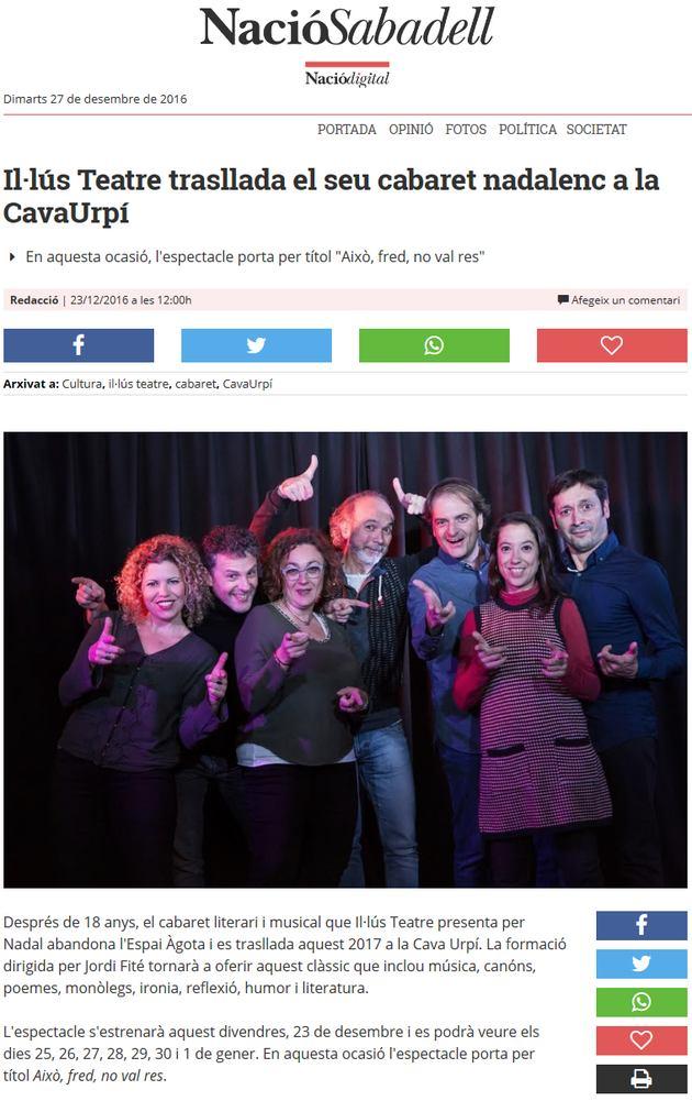 Nació Digital: Il·lús Teatre trasllada el seu cabaret nadalenc a la CavaUrpí