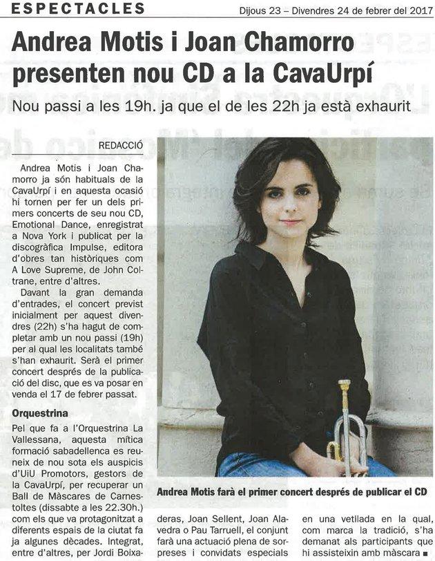 Diari de Sabadell: Andrea Motis i Joan Chamorro presenten nou CD a la CAVAURPÍ