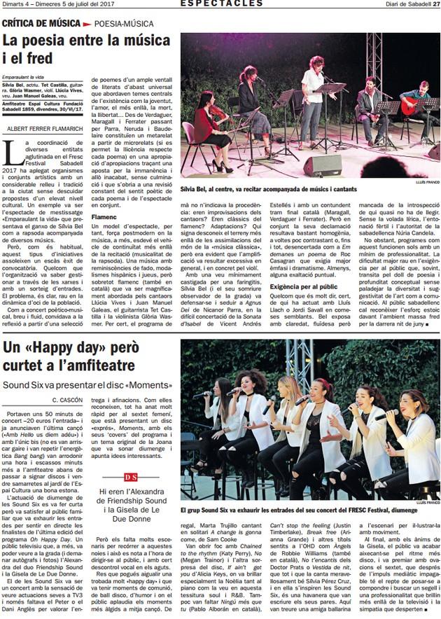 Diari de Sabadell: Critica de Sílvia Bel i Sound Six