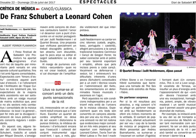 Diari de Sabadell: De Franz Schubert a Leonard Cohen