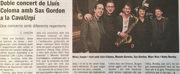 Diari de Sabadell: Doble concert de Lluís Coloma amb Sax Gordon a la CAVAURPÍ