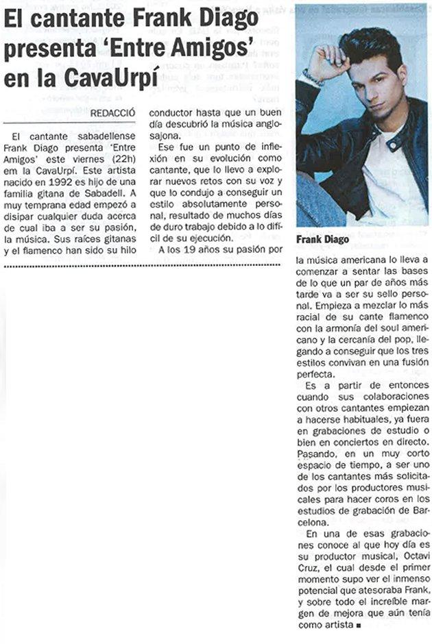 """Diari de Sabadell: El cantante Frank Diago presenta """"Entre amigos"""" en la CAVAURPÍ"""