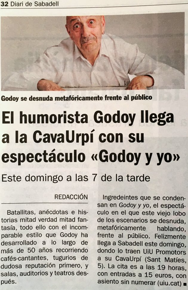 """Diari de Sabadell: El humorista Godoy llega a la CAVAURPÍ con su espectáculo """"Godoy y yo"""""""