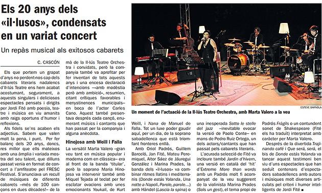 Diari de Sabadell: Els 20 anys dels  «il·lusos», condensats  en un variat concert