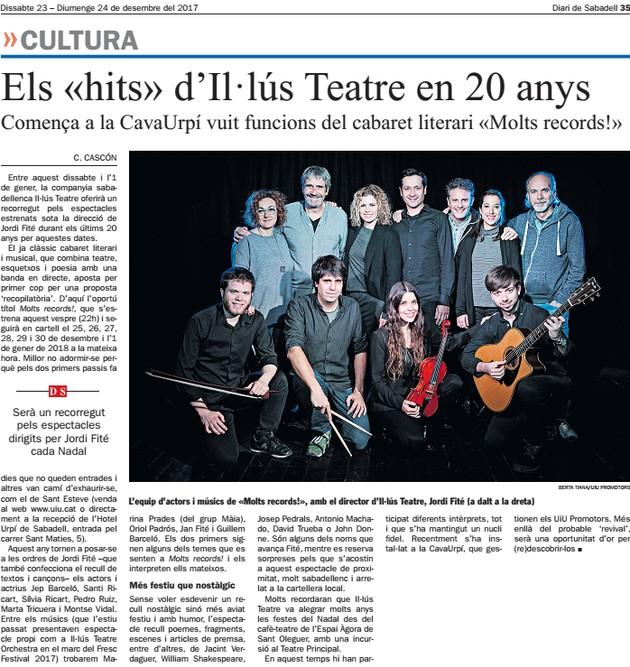 """Diari de Sabadell: Els """"hits"""" d'Il·lús Teatre en 20 anys"""