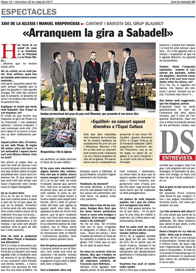 """Diari de Sabadell: Entrevista a Blaumut """"Arranquem la gira a Sabadell"""""""