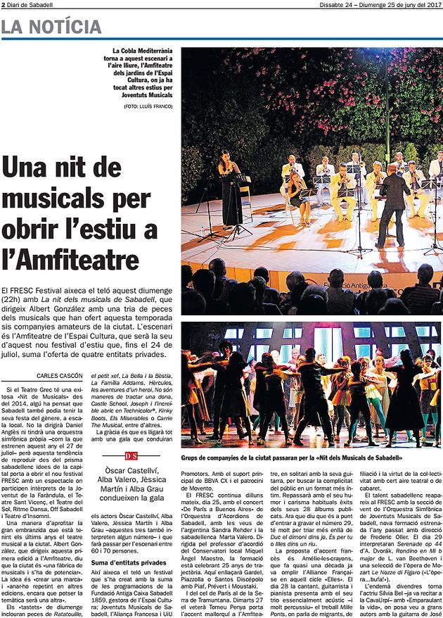Diari de Sabadell: FRESC Festival, Una nit de musicals per obrir l'estiu a l'Amfiteatre