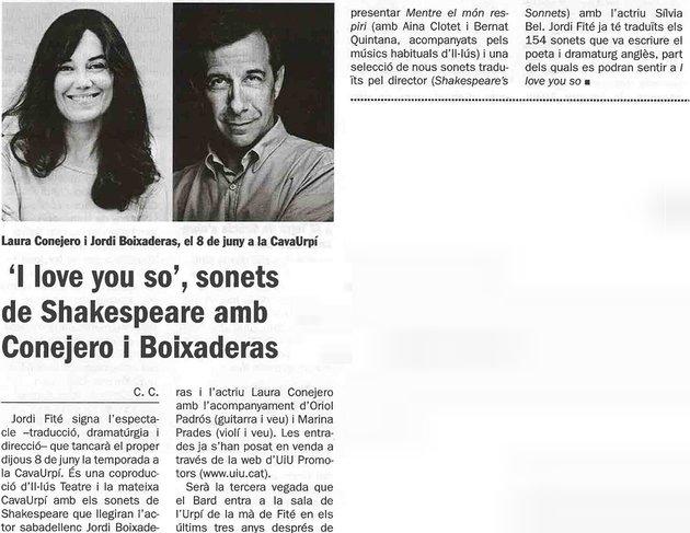 """Diari de Sabadell: """"I love you so"""", sonets de Shakespeare amb  Conejero i Boixaderas"""