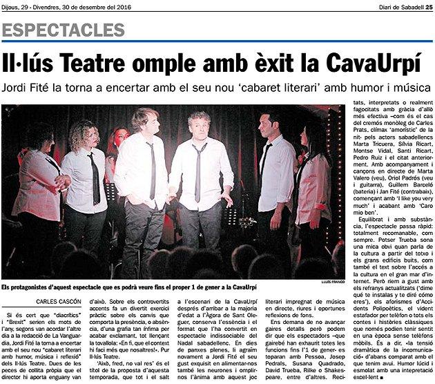 Diari de Sabadell: Il·lús Teatre omple amb èxit la CavaUrpí