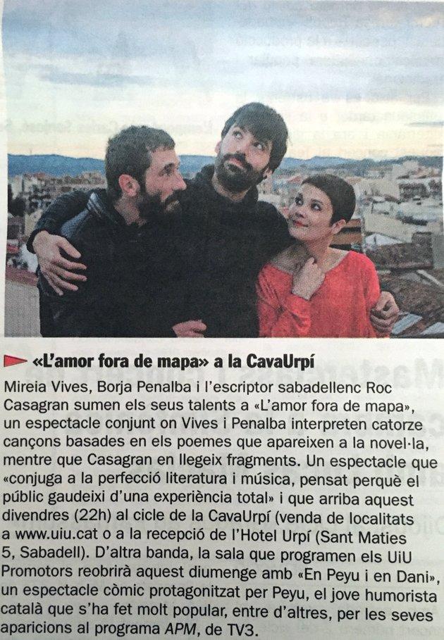 """Diari de Sabadell: """"L'amor fora del mapa"""" a la CAVAURPÍ"""