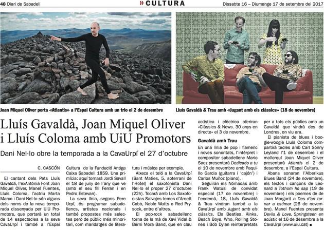 Diari de Sabadell: Lluís Gavaldà, Joan Miquel Oliver i Lluís Coloma amb UiU Promotors