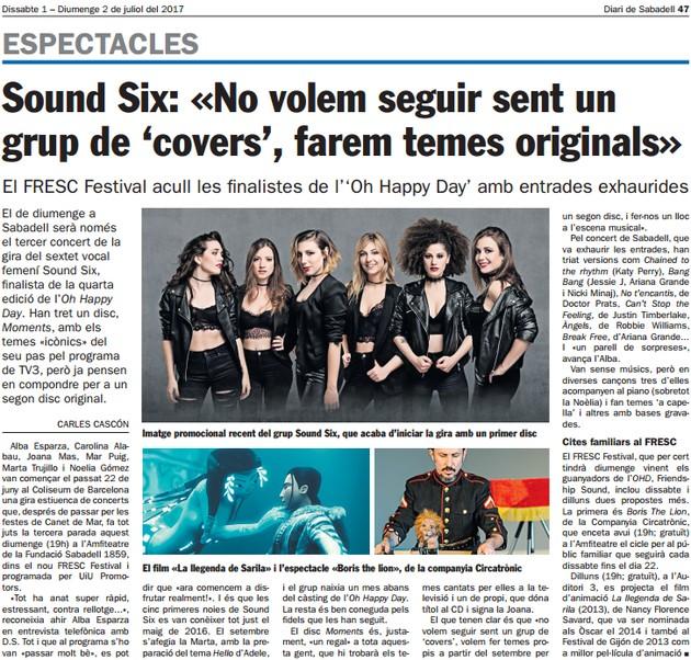 Diari de Sabadell: Sound Six: «No volem seguir sent un  grup de 'covers', farem temes originals»