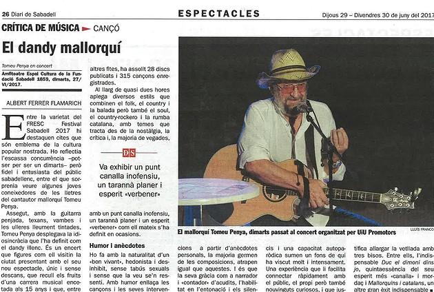 Diari de Sabadell: Tomeu Penya, el dandy mallorquí